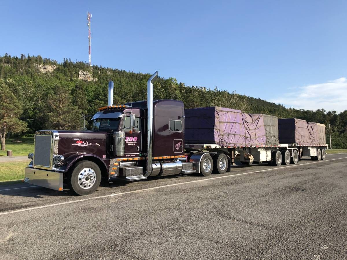 loaded flat bed trailer