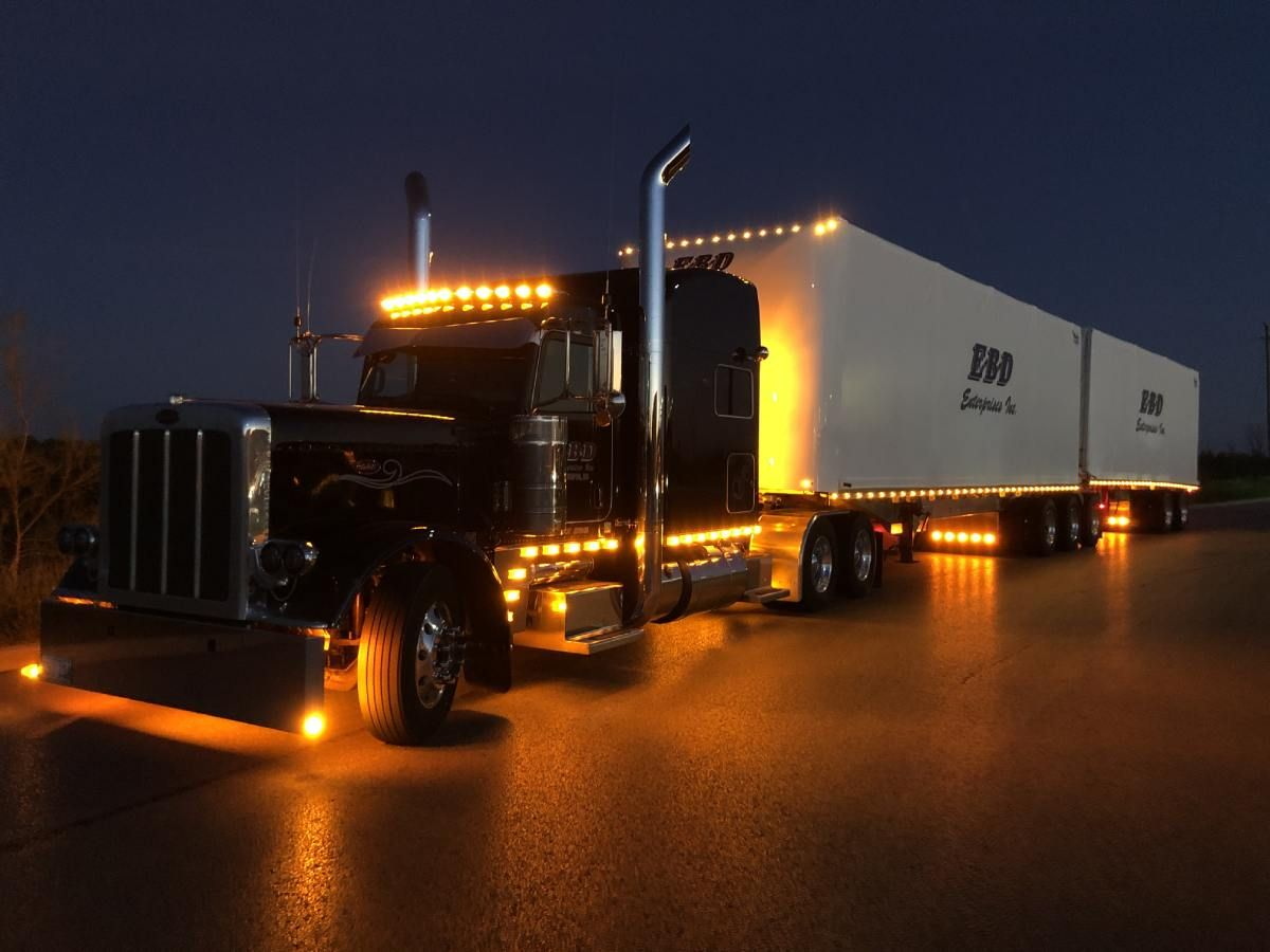 view of a transportation truck at night